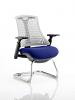 Flex White Frame Cantilever Bespoke Colour Seat Stevia Blue