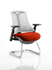 Flex White Frame Cantilever Bespoke Colour Seat Tobasco Red