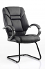 Galloway Visitor Cantilever Chair Leather With Arms Black