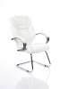 Galloway Visitor Cantilever Chair Leather With Arms White