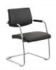 Havanna Visitor Chair Leather With Arms Black