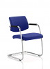 Havanna Visitor Chair Leather With Arms Stevia Blue