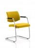Havanna Visitor Chair Leather With Arms Senna Yellow