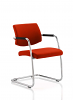 Havanna Visitor Chair Leather With Arms Tobasco Red
