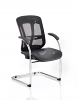 Mirage II Cantilever Chair Black Mesh With Arms Front