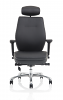Domino Black Bonded Leather With Arms & Headrest
