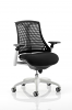 Flex Task Operator Chair White Frame With Black Fabric Seat Black