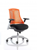 Flex Task Operator Chair White Frame With Black Fabric Seat Orange
