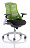 Flex Task Operator Chair White Frame With Black Fabric Seat Green