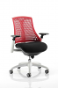Flex Task Operator Chair White Frame With Black Fabric Seat Red
