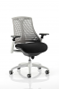 Flex Task Operator Chair White Frame With Black Fabric Seat Grey