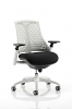 Flex Task Operator Chair White Frame With Black Fabric Seat Moonstone White