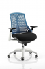 Flex Task Operator Chair White Frame With Black Fabric Seat Blue