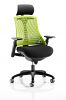 Flex Task Operator Chair Black Frame With Black Seat With Headrest Fabric Seat Green