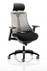 Flex Task Operator Chair Black Frame With Black Seat With Headrest Fabric Seat Grey