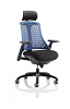 Flex Task Operator Chair Black Frame With Black Seat With Headrest Fabric Seat Blue