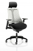 Flex Task Operator Chair Black Frame With Black Seat With Headrest Fabric Seat Moonstone White