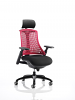 Flex Task Operator Chair Black Frame With Black Seat With Headrest Fabric Seat Red