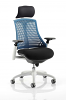 Flex Task Operator Chair White Frame With Black Fabric Seat With Headrest Blue