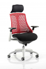Flex Task Operator Chair White Frame With Black Fabric Seat With Headrest Red