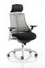 Flex Task Operator Chair White Frame With Black Fabric Seat With Headrest Grey
