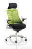 Flex Task Operator Chair White Frame With Black Fabric Seat With Headrest Green
