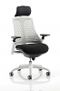 Flex Task Operator Chair White Frame With Black Fabric Seat With Headrest Moonstone White