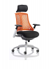 Flex Task Operator Chair White Frame With Black Fabric Seat With Headrest Orange