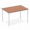 Impulse Straight Table 800 Box Frame Leg Silver Walnut
