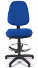 Juno High Back Draughtsman Chair - Blue - Front