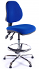 Juno Chrome Medium Back Draughtsman Chair - Blue2