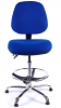 Juno Chrome Medium Back Draughtsman Chair - Blue3
