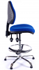 Juno Chrome Medium Back Draughtsman Chair - Blue1