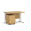 Relax Straight desk 800mm deep with three drawer pedestal