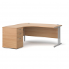 Relax Maestro 25 left-hand ergonomic desk with cantilever frame and high desk pedestal.
