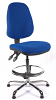 Juno Chrome High Back Draughtsman Chair - Blue2