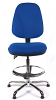 Juno Chrome High Back Draughtsman Chair - Blue3
