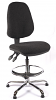 Juno Chrome High Back Draughtsman Chair - Charcoal2