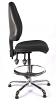 Juno Chrome High Back Draughtsman Chair - Black1