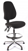 Juno Chrome High Back Draughtsman Chair - Black2