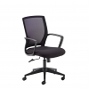 Relax Jonas black mesh back operator chair with black fabric seat and black base