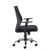 Relax Miller black mesh back operator chair with black fabric seat and chrome base