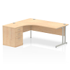 Impulse 1800 Left Hand Cantilever Workstation 600mm Depth Pedestal Bundle