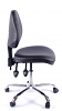 Juno Chrome Vinyl Medium Back Operator Chair - Black