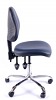 Juno Chrome Vinyl Medium Back Operator Chair - Dark Blue