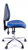 Juno Chrome Vinyl Medium Back Operator Chair - Light Blue