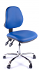 Juno Chrome Vinyl Medium Back Operator Chair - Light Blue2