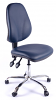 Juno Chrome Vinyl High Back Operator Chair - Dark Blue2