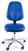 Juno Chrome Vinyl High Back Operator Chair - Light Blue3