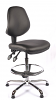 Juno Chrome Vinyl Medium Back Draughtsman Chair - Black2
